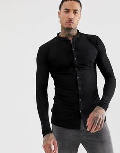 Трикотажная обтягивающая рубашка с воротником на пуговицах Gym King - Черный
