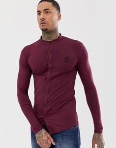 Трикотажная обтягивающая рубашка с воротником на пуговицах Gym King - Красный