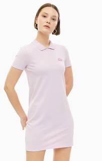 Короткое розовое платье из хлопка Lacoste
