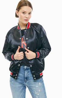 Черная куртка бомбер на кнопках Calvin Klein Jeans