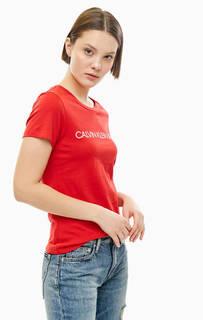 Хлопковая футболка с логотипом бренда Calvin Klein Jeans