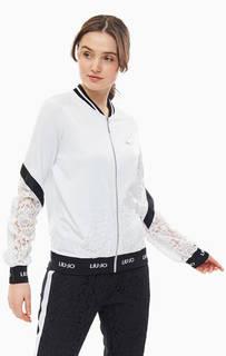 Белая толстовка на молнии с кружевными вставками Liu Jo Sport