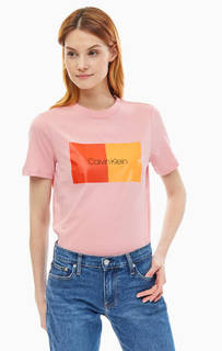Хлопковая футболка с ярким принтом Calvin Klein