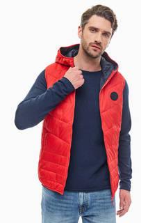 Утепленный красный жилет с капюшоном Jack & Jones