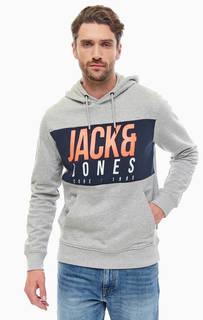 Хлопковая толстовка с карманом-кенгуру и капюшоном Jack & Jones