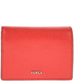 Красный кожаный кошелек на кнопке Babylon Furla