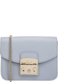 Голубая кожаная сумка с одним отделом Metropolis Furla