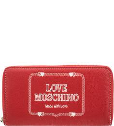 Красный кошелек с контрастной вышивкой Love Moschino