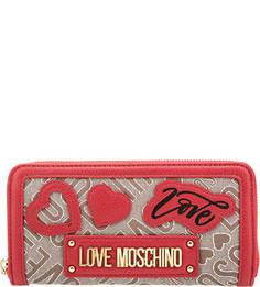 Текстильный кошелек на молнии Love Moschino