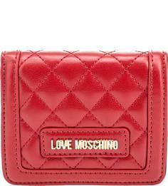 Красный стеганый кошелек на кнопке Love Moschino
