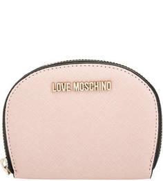 Розовый кошелек на молнии Love Moschino