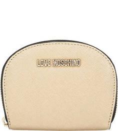 Золотистый кошелек на молнии Love Moschino