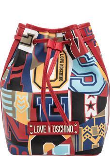 Сумка-рюкзак с разноцветным принтом Love Moschino