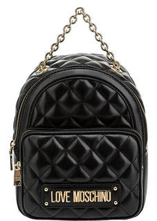 Стеганый рюкзак с одним отделом на молнии Love Moschino