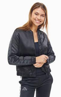 Легкая черная куртка-бомбер с нашивками на рукавах Kappa
