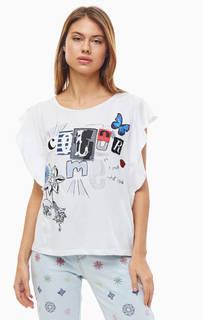 Белая хлопковая футболка с нашивками Desigual
