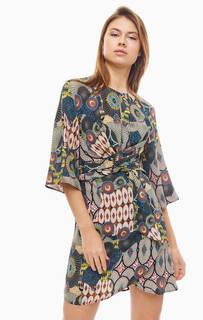 Короткое разноцветное платье из вискозы Desigual