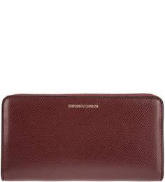 Бордовый кошелек на молнии с карманами Emporio Armani