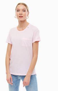 Однотонная хлопковая футболка с карманом Replay
