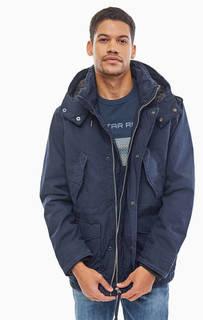 Удлиненная темно-синяя куртка из хлопка G Star RAW