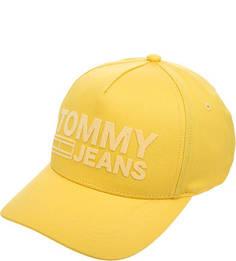 Желтая хлопковая бейсболка с нашивками Tommy Jeans