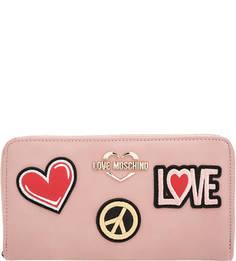 Розовый кошелек с нашивками Love Moschino