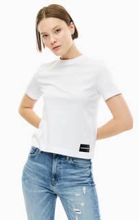 Укороченная белая футболка из хлопка Calvin Klein Jeans