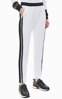 Белые хлопковые брюки с декором из пайеток Liu Jo Sport