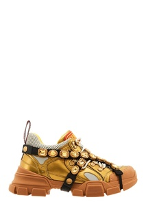 Золотистые кроссовки Flashtrek со съемными кристаллами Gucci