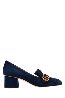 Синие замшевые туфли с монограммами GG Gucci