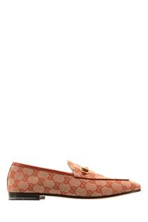 Бежевые текстильные лоферы Jordaan GG Gucci