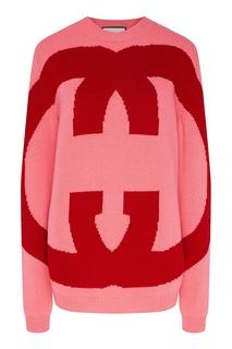 Розовый свитер с красными монограммами GG Gucci
