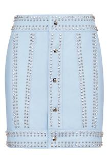 Голубая мини-юбка с отделкой Philipp Plein