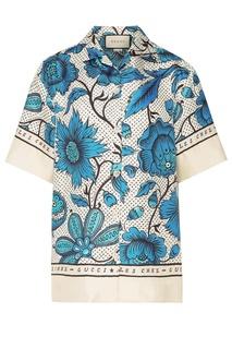 Шелковая рубашка с авторским принтом Gucci
