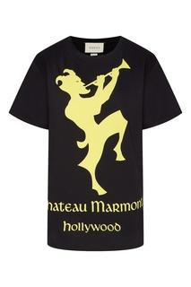 """Желто-черная футболка """"Chateau Marmont"""" Gucci"""