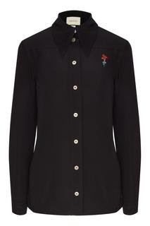 Черная крепдешиновая рубашка с вышивкой Gucci