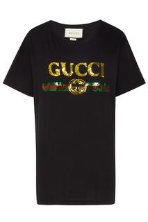 Черная футболка с винтажным логотипом Gucci