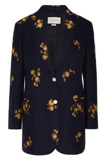 Синий блейзер с цветочным мотивом Gucci