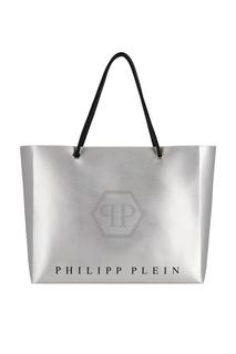 Серебристая сумка-тоут с логотипом Philipp Plein
