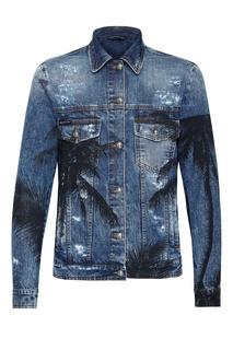 Синяя куртка с принтом Philipp Plein