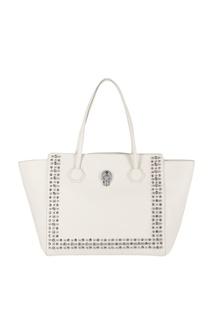 Белая кожаная сумка с отделкой Philipp Plein