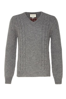 Серый шерстяной пуловер Gucci Man