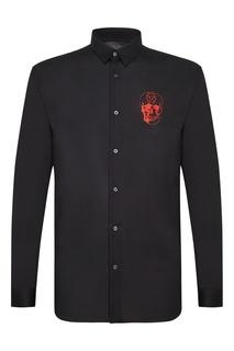 Черная рубашка с вышивкой Philipp Plein