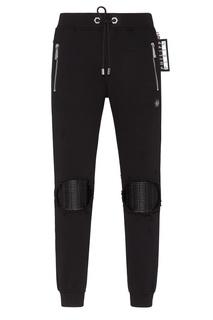 Черные брюки с ребристой отделкой Philipp Plein