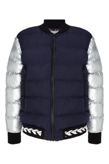 Серебристо-синяя утепленная куртка с отделкой Fw Dlab
