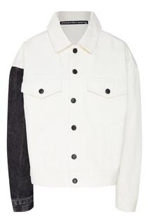 Белая куртка с контрастным рукавом Alexander Wang