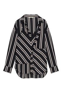 Черная рубашка в асимметричную полоску Maje