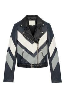 Кожаная куртка с контрастными шевронами Maje