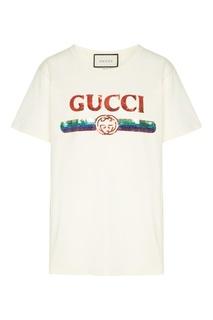 Белая хлопковая футболка с пайетками Gucci