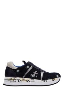 Синие кроссовки с серебристым логотипом Premiata
